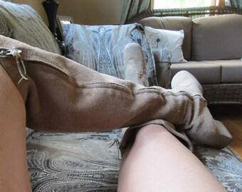 1960 beige suede GoGo boots