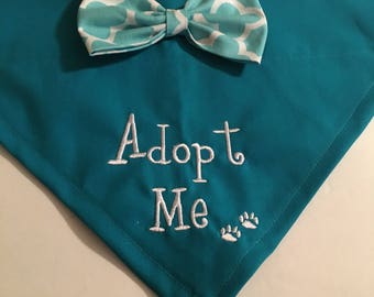 Dog Bandana, Adopt Me, bow,  paws, Personalized, Embroidery, Over the Collar, Scarf,  dog gift