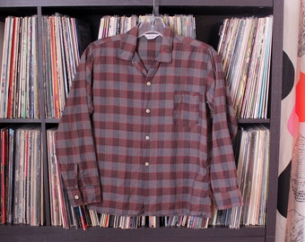 50s 60s vintage BOYS button down shirt, dark red and gray plaid cotton madras shirt by Michael Boys Wear, tag size 14