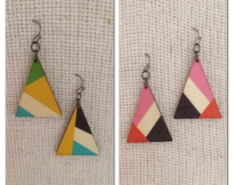 2 pairs of wooden triangle earrings/ geometric shape/ geometric design
