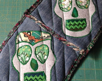Grey and Green Sugar Skull Hot Pads