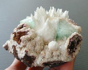 Healing Crystal Green Apophyllite, Scolecite, Heulandite Quartz Druzy Spear Raw Mineral Specimen Green Crystal