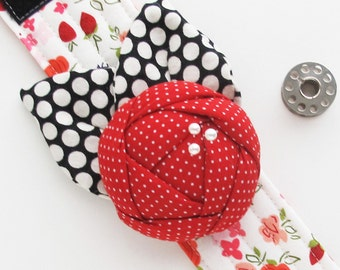 Gift for Quilter Sewers Sewist or Seamstress Flower Pincushion Cuff | Rose Wrist Corsage Pin Cushion Bracelet