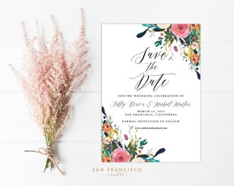 Save the Date Card INSTANT DOWNLOAD |  Editable Wedding Announcment Invitation Template | floral, calligraphy | Ashley Collection | PDF File