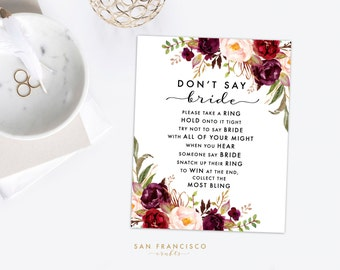 Bridal Shower Ring Game - Don't say BRIDE - Bridal Shower Activity - Holly Collection - Instant Download PDF File