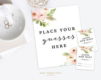 How Many Kisses Guessing Game and Cards - Bridal Shower Game,  8x10 Sign and Entry Cards - Tiffany Collection - Instant Download PDF File