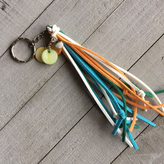 Tassel Keychain SALE Beach Lover Mermaid Boho Chic Purse Bag Tassel Seashell Charms Gift for Her Mother's Day Birthday Gift