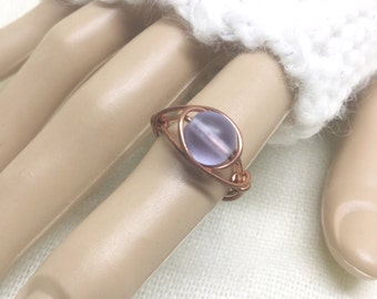 Copper ring, size 5.5, pale lavender