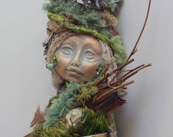 Spring Goddess, Mothers day gift, New mom, Bridal Shower gift, Goddess of Creativity, ooak Art Doll, Nature mythology art, Eater Assemblage.