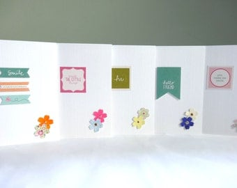 Thank you card set - pack of 5 blank note cards - hello friend stationery - mini flowers and printed graphics - Free UK delivery