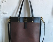 Harbor tote in black and cherry (reserved)