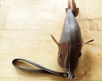 Fish Purse Dark Brown Cowhide Leather