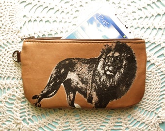 Lion Pouch with Zip Pocket on the Back