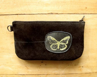 Butterfly Phone Pouch Black Suede