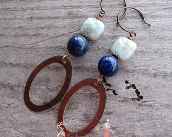 Natural Lapis and Green Chrysocolla Stones    Copper Oval Dangles   Green and Blue   Hippie   Boho   Earthy and Organic   Earrings Under 25