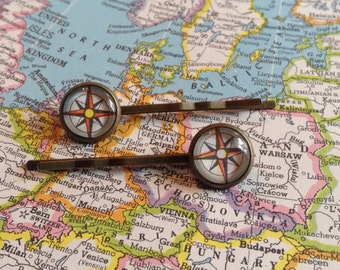 Compass Hair Pins  / Bobby Pins / Map Jewelry / Compass Hair Accessory / Vintage Atlas / Gift For Her / Travel / Wanderlust Stocking Stuffer