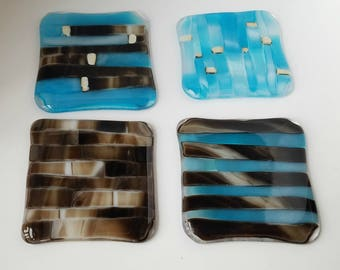Set of 4 fused glass coasters - brown - blue - cream - glass coasters - fused coasters  - housewarming -