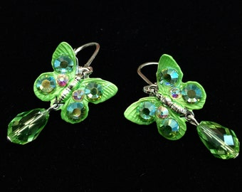 Butterfly Earrings with  Sparkling Peridot Crystals