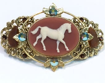 Barrette Brown and Creme Horse Cameo with Beach Glass and Crystal Accents