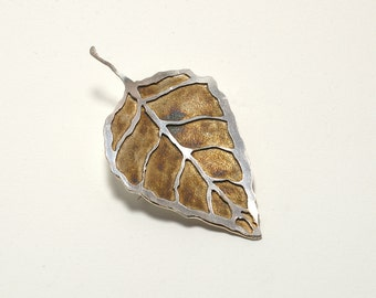 Jewelry Silver, Gift For Her, Present, Brooch Autumn Leaf