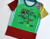Size 5T(42 3/4 inch) Upcycled Boys long sleeve tee shirt mad world