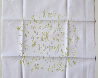embroidery pattern on fabric Let's Be Happy, yellow green on white