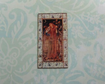 Dollhouse Miniature William Morris Lady Tiles Mural