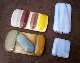 Fused Glass Cabochons, 4 Retro Glass Cabs,  Willow Glass