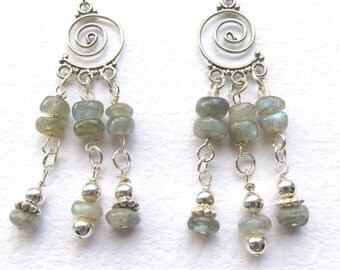 Gemstone Chandelier Earrings, Blue Green Labradorite, Sterling Silver and Natural Gemstones, Fancy Stone Earrings, One of a Kind Gift