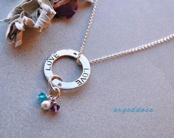 LOVE all sterling silver and swarovski crystal birthstone necklace by srgoddess