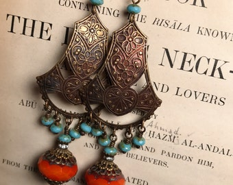 Lovely Karima Chandelier Earrings in Orange and Turquoise