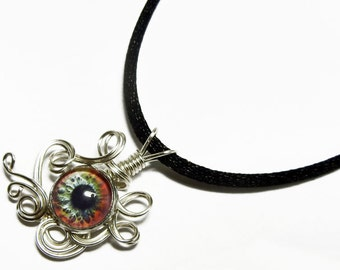 Wire Wrap Handmade Glass Evil Zombie Eye Pendant with Necklace