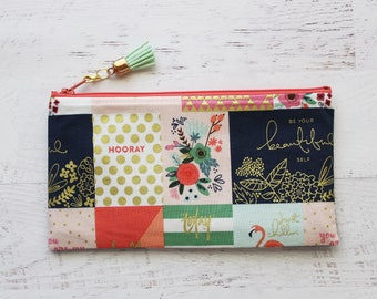 Planner accessories pouch - pencil pouch - coral bag - tassel charm - pencil bag - pen pouch - journal bag - planner bag - mint tassel charm