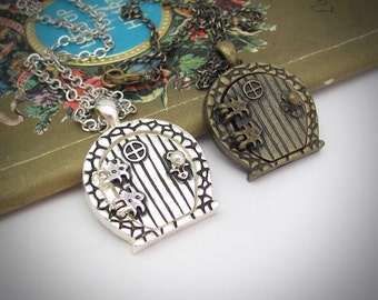 Fairy Door Necklace, Fairy Door Pendant, Antiqued Silver or Antiqued Brass colors, Fairy Locket, Magical Fantasy, Magnetic