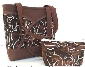 MOTHERS DAY SALE Fabric handbag, Purse, handbag, tote, cats, batik, brown, cat lover, handbags and totes, purse with pockets, gift for women