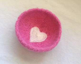 Pink Valentine Felted Heart Bowl