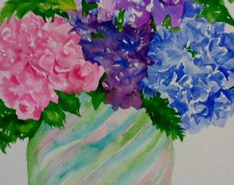 Hydrangeas Watercolor Painting, Hydrangeas painting, Original flowers wall art, 11 x 15, hydrangea watercolor art SharonFosterArt floral