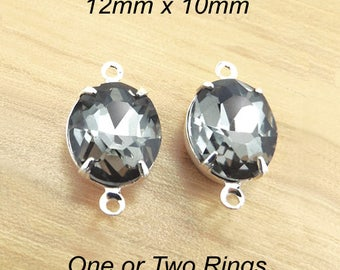 Black Diamond Glass Beads - 12mm x 10mm Oval - Gray - Glass Gems in Silver or Brass Prong Settings - Rhinestone Glass Charms - One Pair