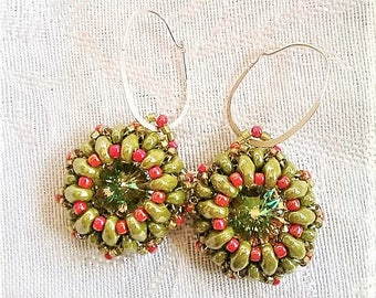 Summer Melon Drops Swarovski Crystal Rivoli Earrings