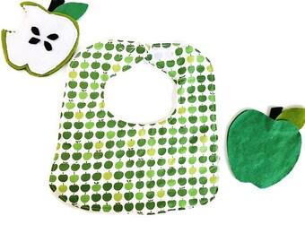 Green Apples Baby Bib, Baby Shower Gift, Drool Bib, Infant Bib