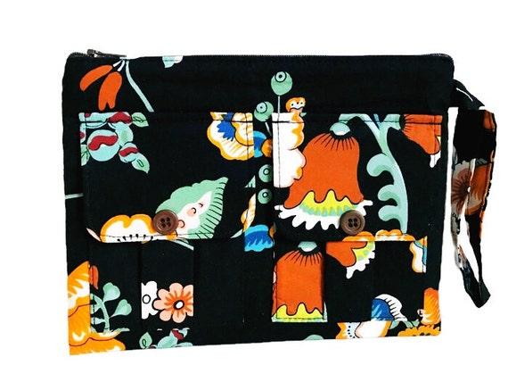Black Floral Wristlet, Wristlet Purse, Fabric Wallet, Wristlet Clutch, iPhone Wristlet