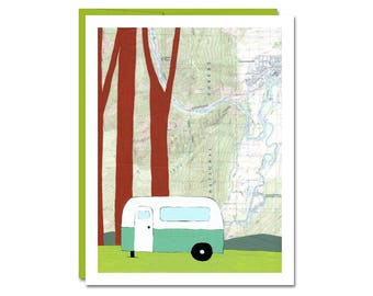National Forest Map Notecard // Blank Card // Camping Card // Airstream Card // Leavenworth Card // Happy Camper // Rachel Austin
