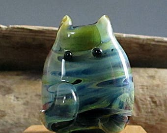 Blue and Green Cat Bead Handmade Lampwork Focal by teribeads - Gaia FatCat