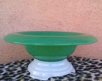 Vintage 1940s Bowl Jadeite Milk Glass Pedestal Serving Bowl