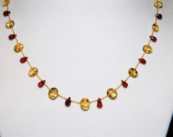 Citrine Briolettes Garnet Briolettes Gemstone Necklace on Silk  Cord and 14K Gold Filled Closure
