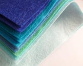 BLUES Wool Blend Felt Pack 10 squares