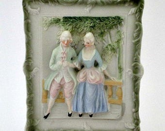 Chase Occupied Japan Vintage Courting Couple Wall Decor  - Victorian Boudoir Pastel Decor