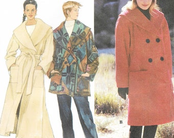 Simplicity 9823 - OVERSIZED WRAP COAT - Sewing Pattern - Multi Sizes xs-s-m - Uncut