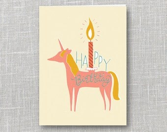 Unicorn Candle Birthday Notecard Instant Download PDF