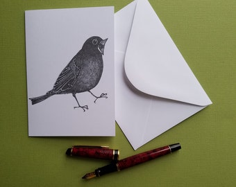 mr screamy round black bird tweeting blank greeting card note card with envelope 4 x 6